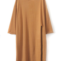 Brown Slit Side Loose Long T-shirt
