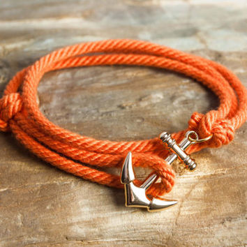 Nautical rope anchor bracelet - Orange
