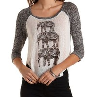 Elephant Graphic High-Low Baseball Tee - Med Gray Combo