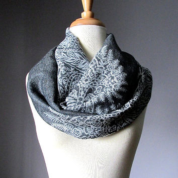 Charcoal scarf, grey Infinity Scarf,  floral scarf, fall scarf,  pashmina paisley scarf,  Christmas Gift Ideas For Her, Women Accessories