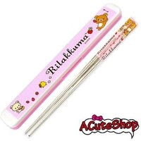 San-x Rilakkuma Stainless Steel Chopsticks in Case PINK Strawberry 1 SET