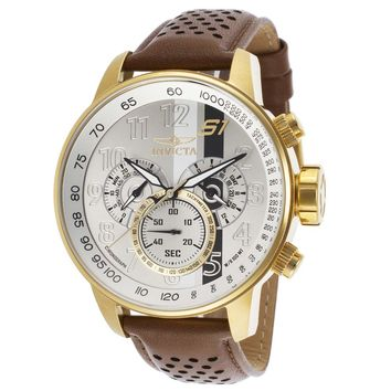 Invicta 19287 Men's S1 Rally Silver Dial Yellow Gold Steel Brown Strap Chrono GMT Watch