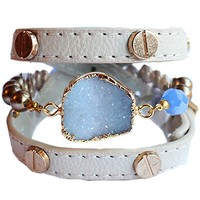 Stretch Beaded Druzy Leather Wrap Bracelet Stack