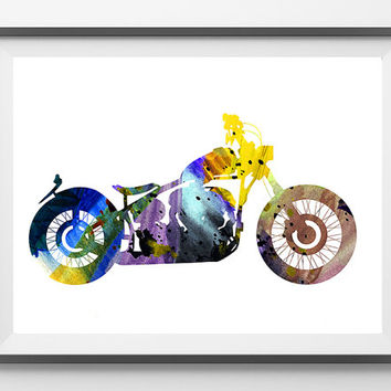 Motorcycle watercolor print, custom motorcycle illustration poster, motorcycle art, Wall decor, motors art, sportster lover gift [NO 195]