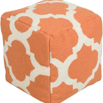 Surya Cube Hand Made Wool Pouf, Rust, Ivory