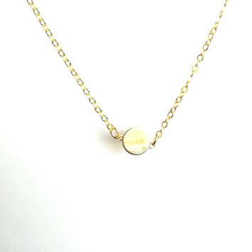Gold Dot Necklace, Dot Necklace, Gold Disc Necklace, Small Dainty Necklace, Gold Circle Necklace, Small Gold Necklace, Thin Gold Necklace