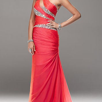 One Shoulder Long Formal Gown by Flirt