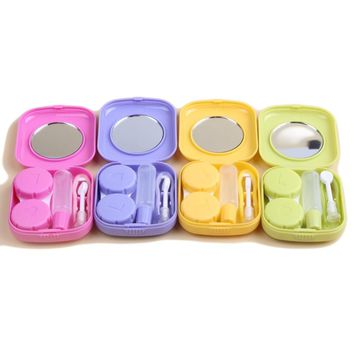 2018 New Fashion Lovely Pocket Mini Contact Lens Case Travel Kit Easy Carry Mirror Lenses Box Container 4 Colors Free Shipping