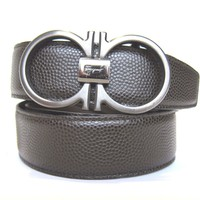 B-278180 New Salvatore Ferragamo Brown Leather Chrome Buckle Size 38 Fits 36