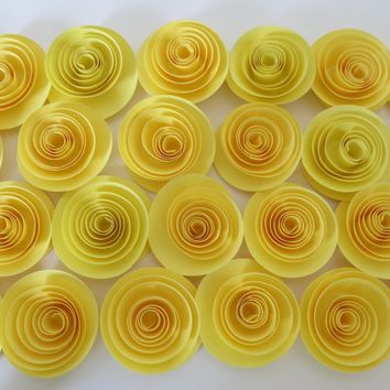 """Pastel Yellow Roses Paper Flowers Set of 24 Gender Neutral Baby Nursery Decor, Bridal Shower Gift Wedding Reception Table Idea Birthday 1.5"""""""