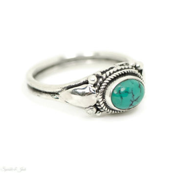 Sterling Silver Natural Turquoise Bali Ring