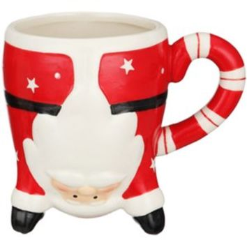 Buy Festive Santa Upside Down Mug 13cm at Stevens
