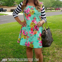 Floral and Stripes Dress