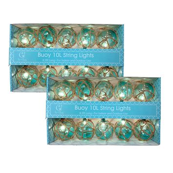 Aqua Nautical Buoy Globe String Light Set
