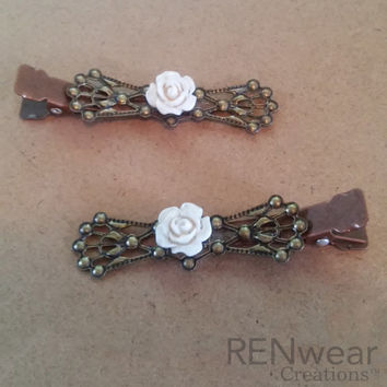 VIntage Inspired Ivory Rose Filigree Barrettes