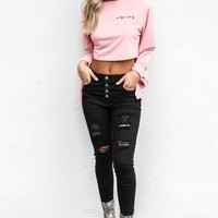 Heart Is Racing Black High Rise Button Up Skinny Jeans
