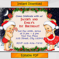 Twin Christmas Invitation, Editable Girl and Boy Vintage Babues Birthday Invitation, Instant Download, Sibling etsy invitation T003