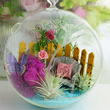 Grandma's Garden Terrarium Kit ~ Rose Trellis ~ Bench with Love Pillow ~ Picket Fence ~ Butterfly ~ Moss ~ Airplants ~ Terrarium ~ Gift idea