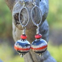 Southwest Lampwork Handmade Earrings, Blue Coral Ivory Sterling Beaded Artisan Dangle Jewelry