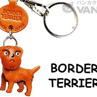 Border Terrier Leather Dog Keychain VANCA CRAFT-Collectible keyring Made in Japan