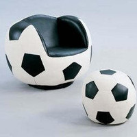 Swivel Soccer Ball Chair and Ottoman