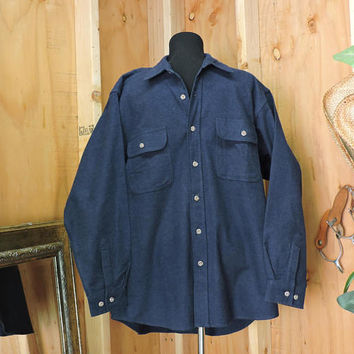 Vintage Field and Stream / heavy cotton shirt / size L / 80s mens blue flannel shirt / hunting fishing outdoor wear