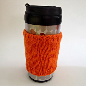 Coffee cozies, coffee cup sleeve, knit coffee cozy, knitted coffee cozy, coffee accessories, orage coffee mug, coffee sleeve, coffee cozy