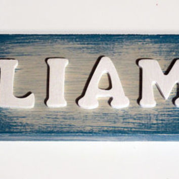 Rustic Name Sign in Corinth Blue