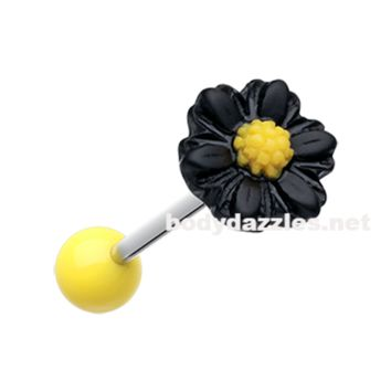 Black Adorable Daisy Acrylic Barbell Tongue Ring  14ga Surgical Steel