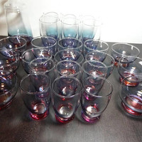 Vintage Purple and Blue Ombre Glassware - Variety of Shapes and Sizes - Bar/Cocktail/Juice/Drinking Glasses and 1 Covered Jar - Set of 25