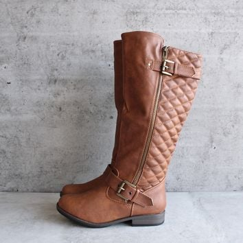 chestnut quilted riding boot