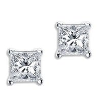 Princess Cut Square CZ Basket Set Sterling Silver Stud Earrings 5mm