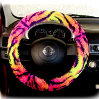 Steering wheel cover for wheel car accessories Neon Colorful Leopard