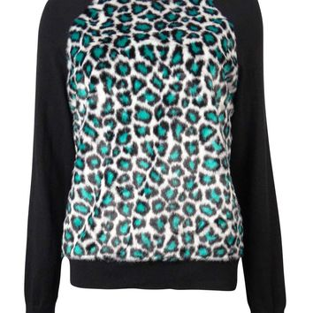 Michael Kors Women's Leopard Faux Fur Raglan Sweater