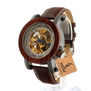BOBO BIRD Hand Crafted Wood Luxury Mens Skeleton Watch with Leather Band