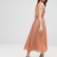 ASOS Deep Plunge Cami Mesh Pleated Midi Dress at asos.com