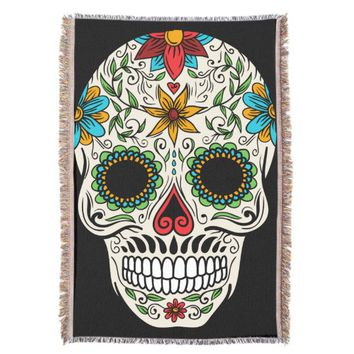 Day Dead Sugar Skull Throw Blanket