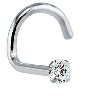 FreshTrends 1.5mm (.015 ct. tw) Diamond 14K White Gold Nose Rings Twist Screw (20G& 18G)