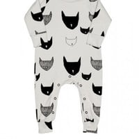 Long Sleeve Jumpsuit Light Gray Cats