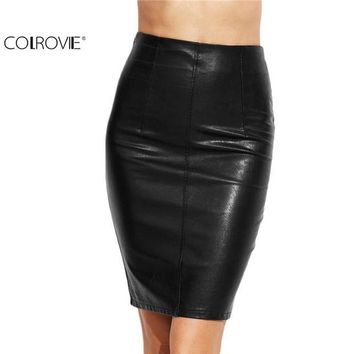 LMFYV3 COLROVIE PU Leather Bodycon Woman Skirts 2017 Female Sexy Clothing Autumn Winter Punk High Street Stylish Black Midi Skirt