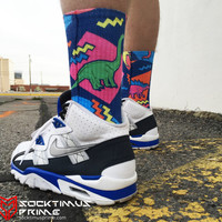 Florescent Dinosaur - Custom Sublimated Socks - Socktimus Prime