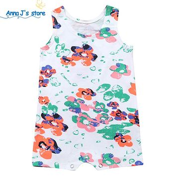 Children's Clothing Pajamas Newborn baby rompers baby cotton short-sleeved Boys Girls Floral clothes