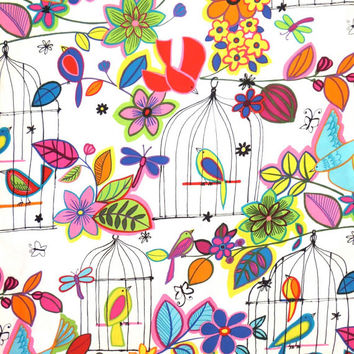 Colorful Las Palomas en Colores Birdcage Print Pure Cotton Fabric from Alexander Henry--One Yard