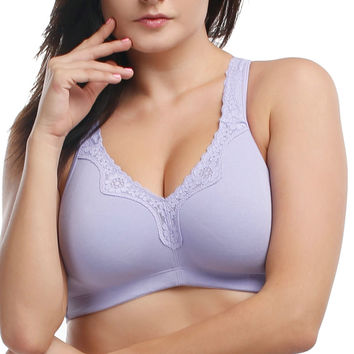 Lace Full Coverage Wireless Non Padded Cotton bra/intimates Black White Grey Purple Band 36 38 40 42 44 46 48 Cup B C D DD DDD