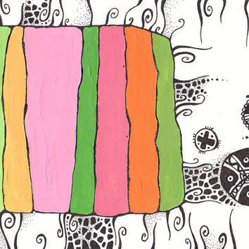 6x8.3'' modern abstract art. Green, pink and orange color lines combined with black and white graphic zentangles. Retro TV.