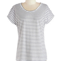 ModCloth Nautical Mid-length Short Sleeves Utmost of Ease Top