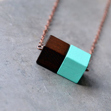 Simple Bar Necklace, Geometric Necklace, Wood Bead Necklace, Minimalistic Necklace, Cherry Wood Block, Aqua Wood Block