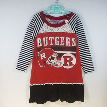 Girls Size 5 Upcycled Rutgers Football Tshirt  Dress Eco Friendly  Black Flounce with White Rick Rack and Long Striped Raglan Sleeve