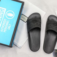 Gucci Logo Black Rubber Slide Sandal With Blue Box - Best Online Sale