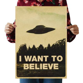 Vintage Classic Movie The Poster I Want To Believe Poster Bar Home Decor Kraft Paper Painting Wall Sticker 51.5X36cm